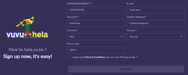 How to register in Helabet Kenya