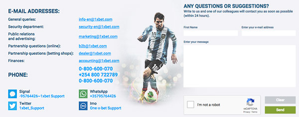1xbet contact information
